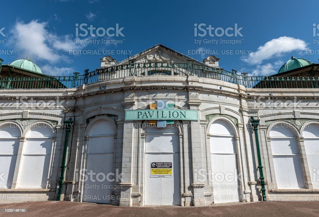 Abandoned Pavilion building in Torquay, Devon stock photo
