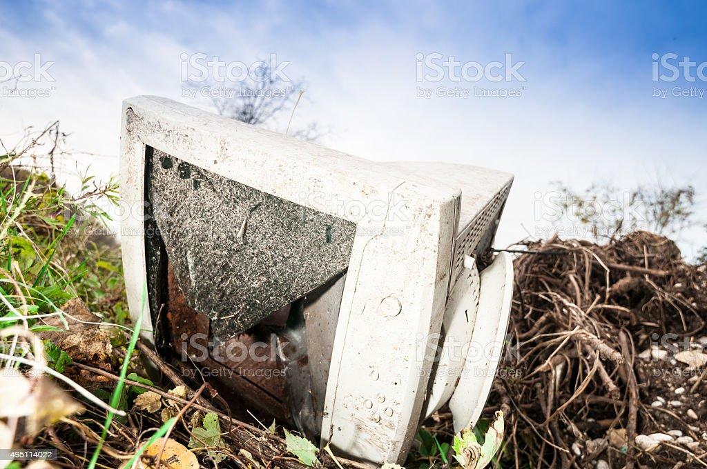 Abandoned PC monitor closeup stock photo
