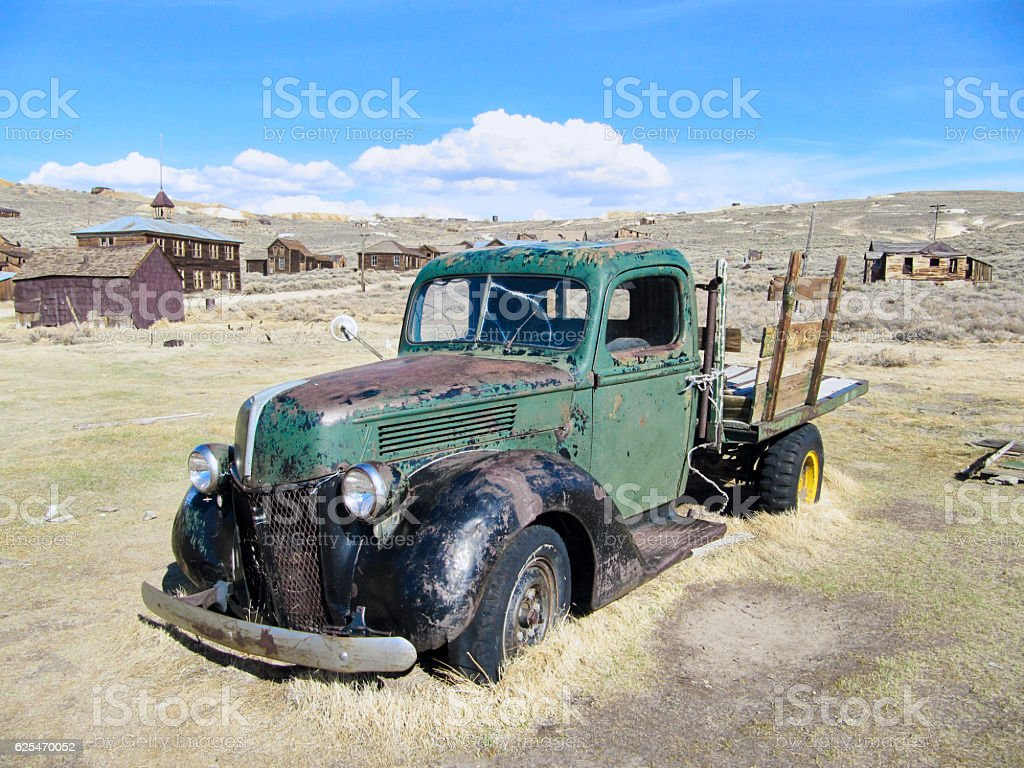 Abandoned Pickup of the ghost town Bodie stock photo