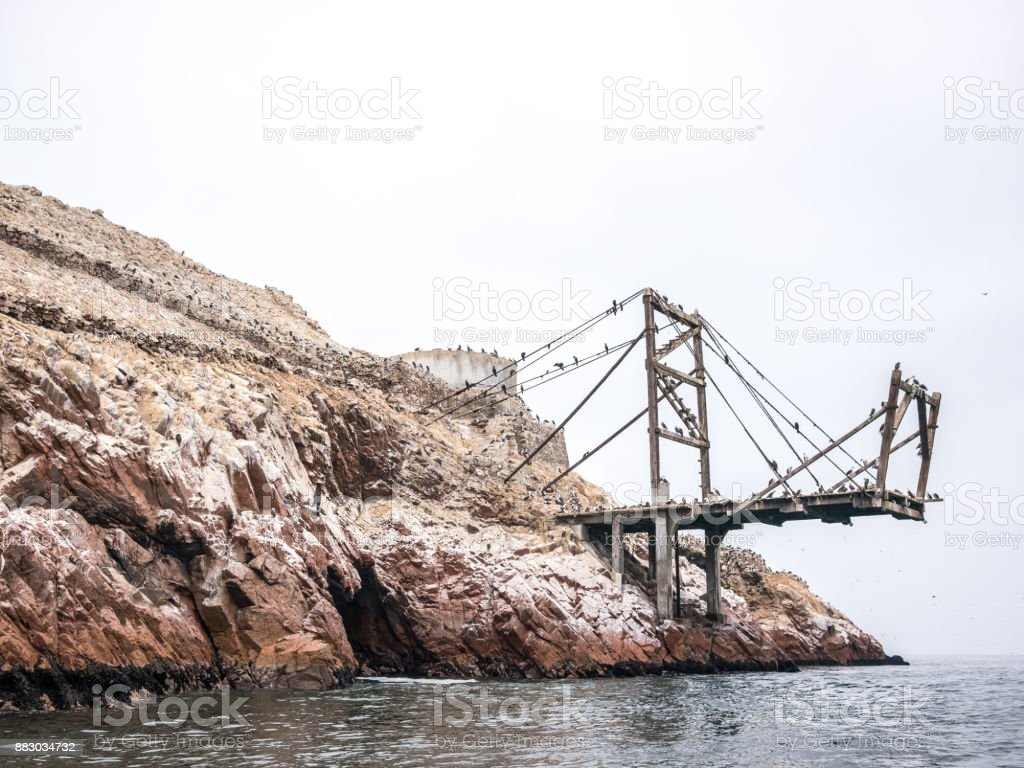 Abandoned pier in Islas Ballestas stock photo