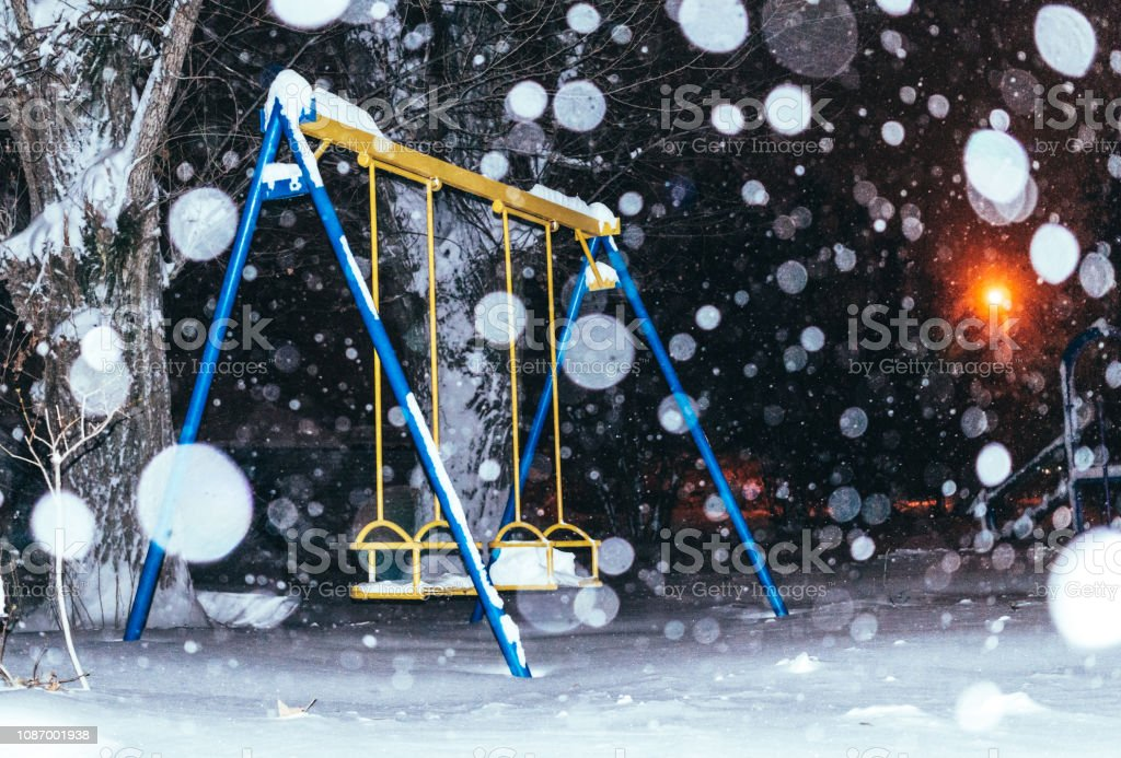 Abandoned Playground And Night Snowfall Stock Photo Download Image Now Istock