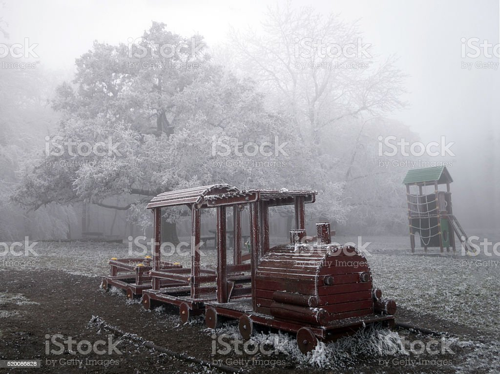 Abandoned Playground Locomotive In Frost Forest Stock Photo Download Image Now Istock