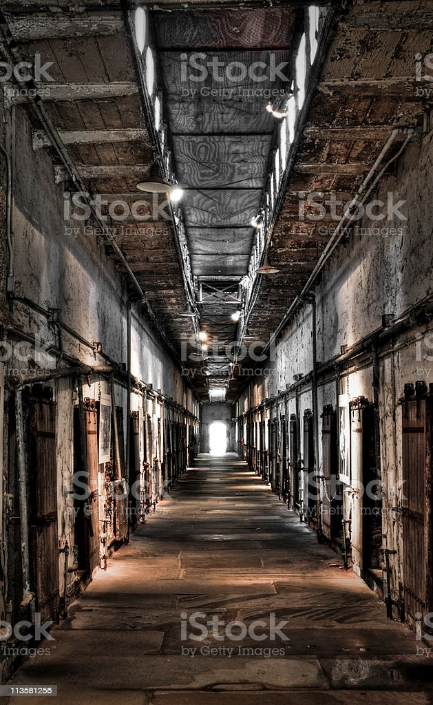 Abandoned prison cell block stock photo