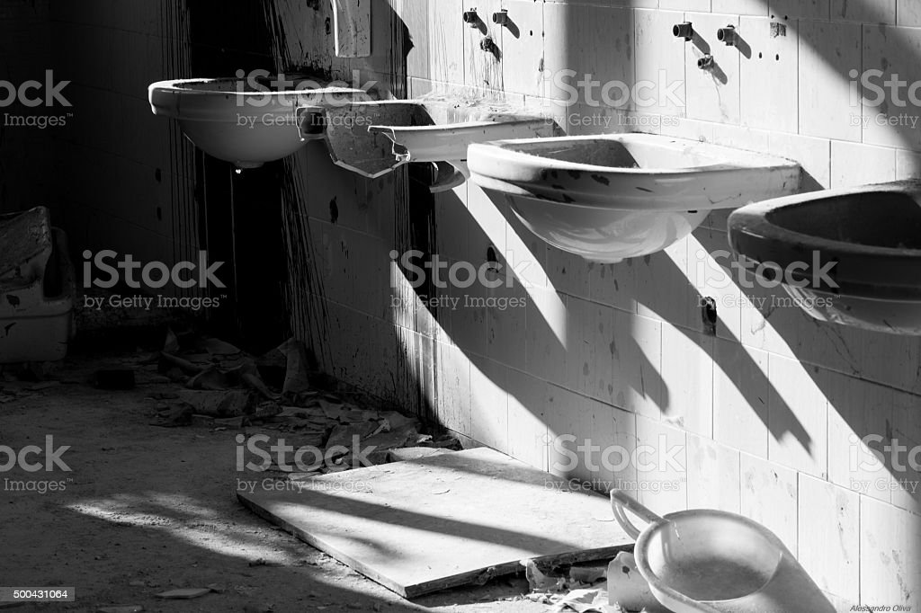 Abandoned Psychiatric Hospital, Monbello - Milano stock photo