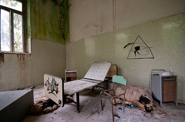abandoned psychiatric hospital - psychiatric ward stock photos and pictures
