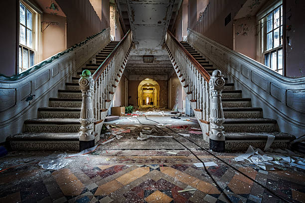 Abandoned psychiatric hospital Main entrance with symmetrical stairs of an abandoned psychiatric hospital (demolished in 2015) derelict stock pictures, royalty-free photos & images