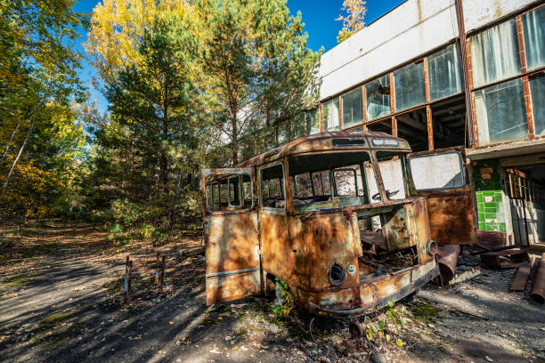 abandoned radioactive bus that participated in the liquidation of the accident. stock photo