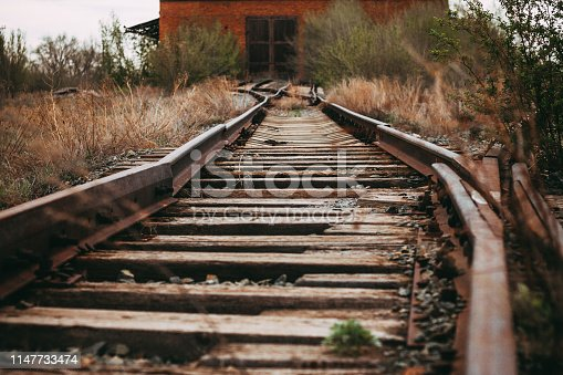abandoned railroad leading to a closed hangar, vintage style