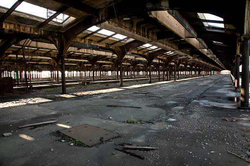 Obsolete train station was the last stop in Jersey City New Jersey for trains headed to and from New York City.