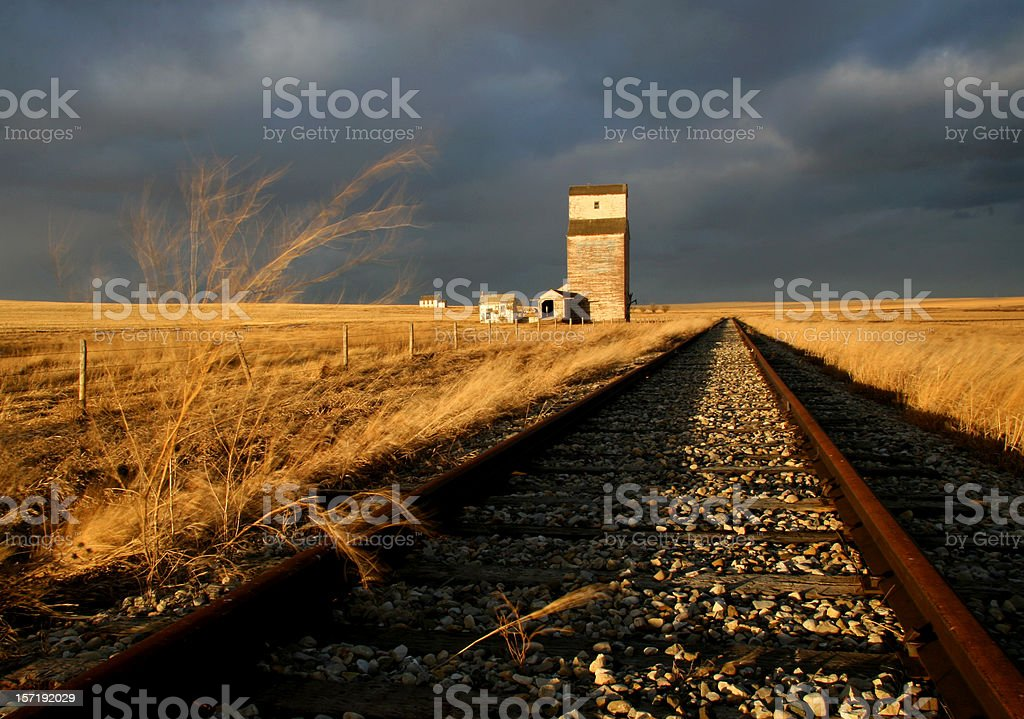 Abandoned Railway And Train Track on the Prairie stock photo