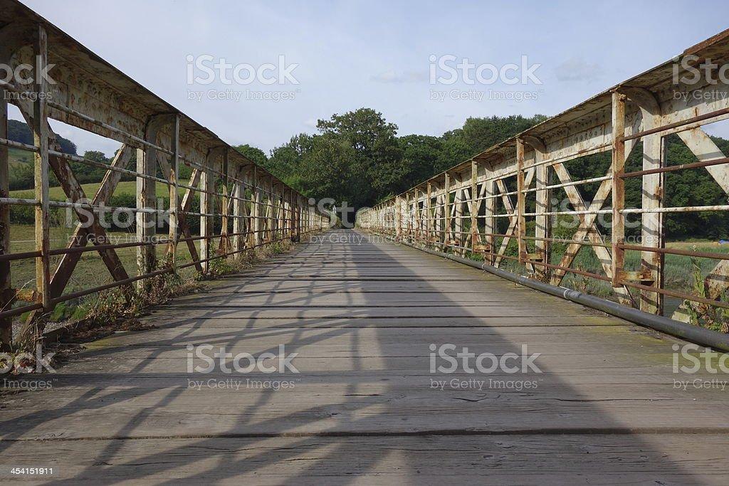 abandoned railway bridge stock photo