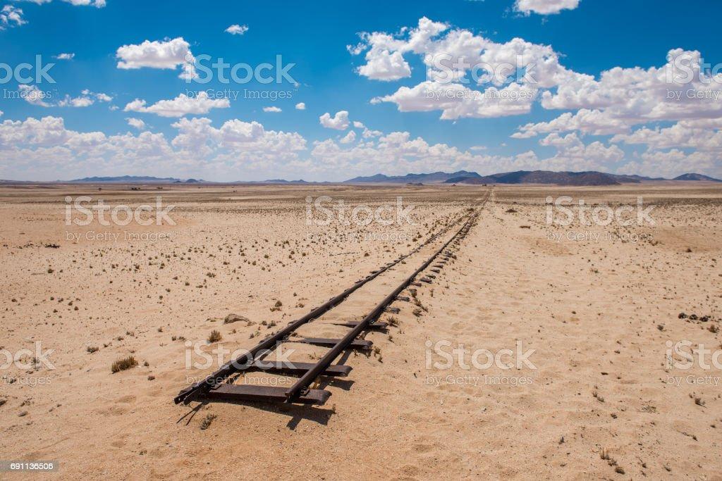 Abandoned railway tracks in the desert, Namibia stock photo