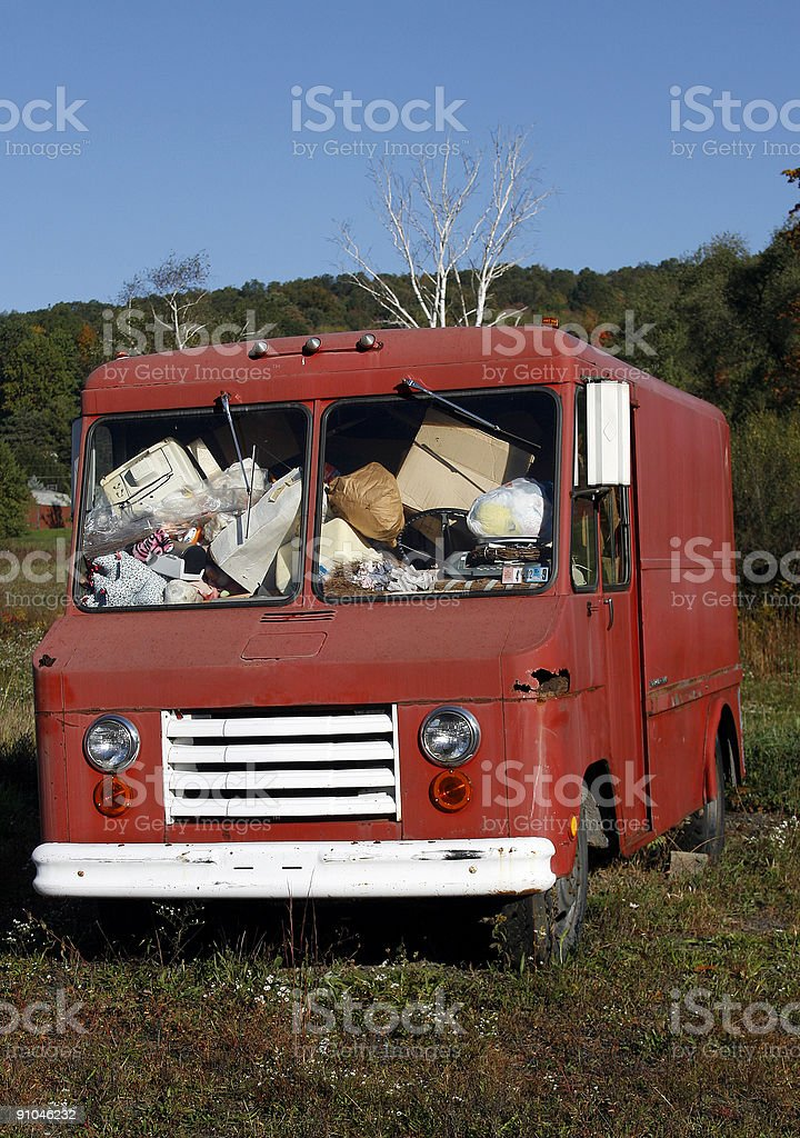 abandoned red box van royalty-free stock photo