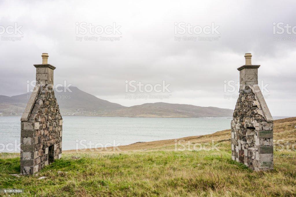 Abandoned remote Scottish croft stock photo