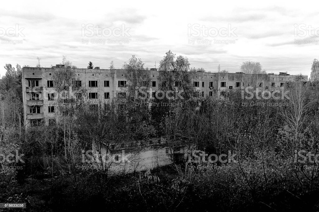 Abandoned rise buildings. stock photo