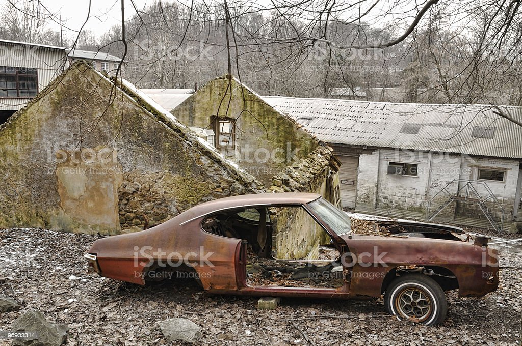 Abandoned Rooftop Car royalty-free stock photo