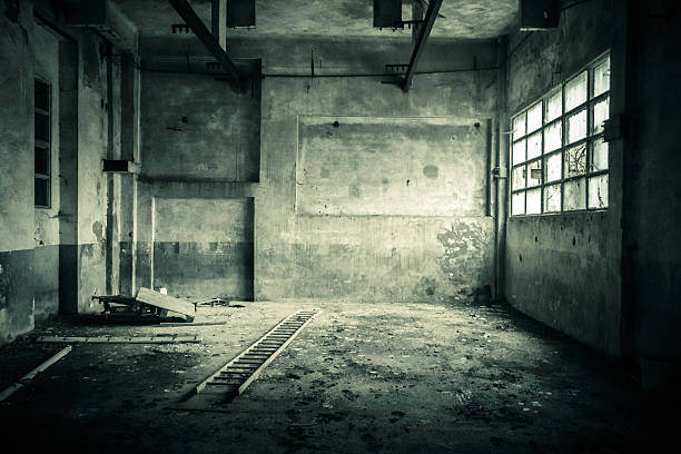 abandoned room with broken window - dilapidated stock pictures, royalty-free photos & images