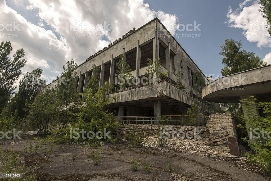 Abandoned rotting building in Pripyat near Chernobyl stock photo