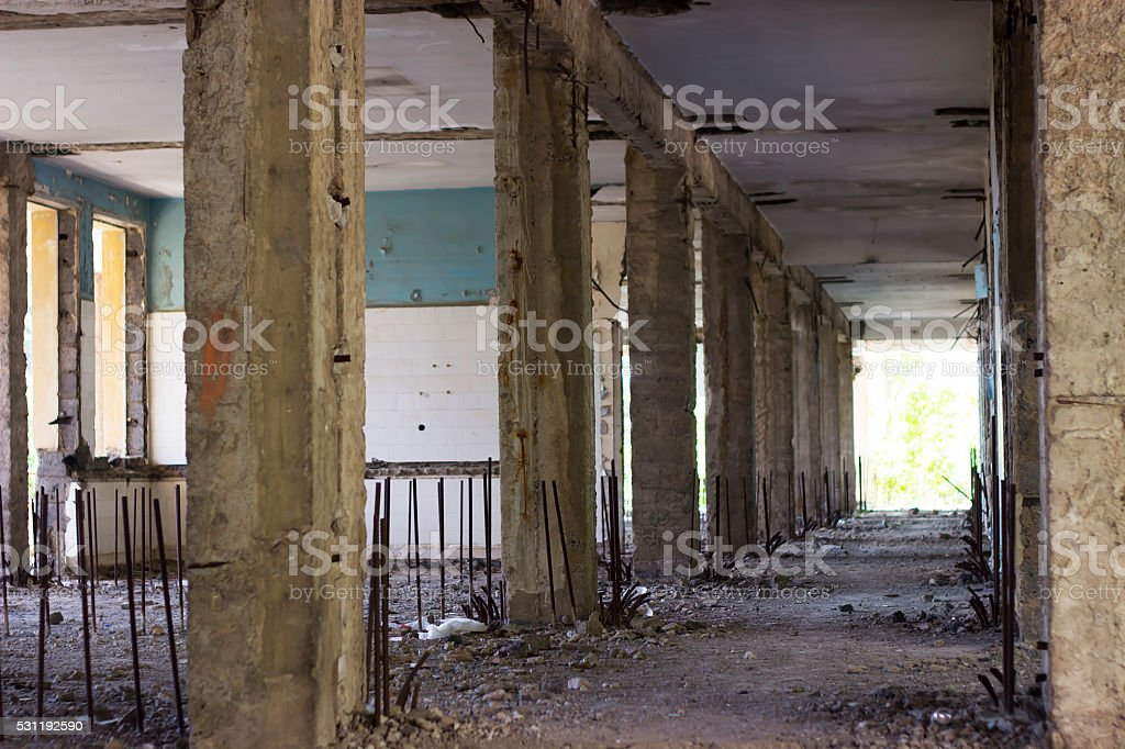Abandoned ruined hospital at syria stock photo
