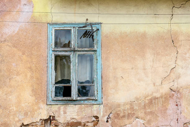 Abandoned ruined house, stock photo