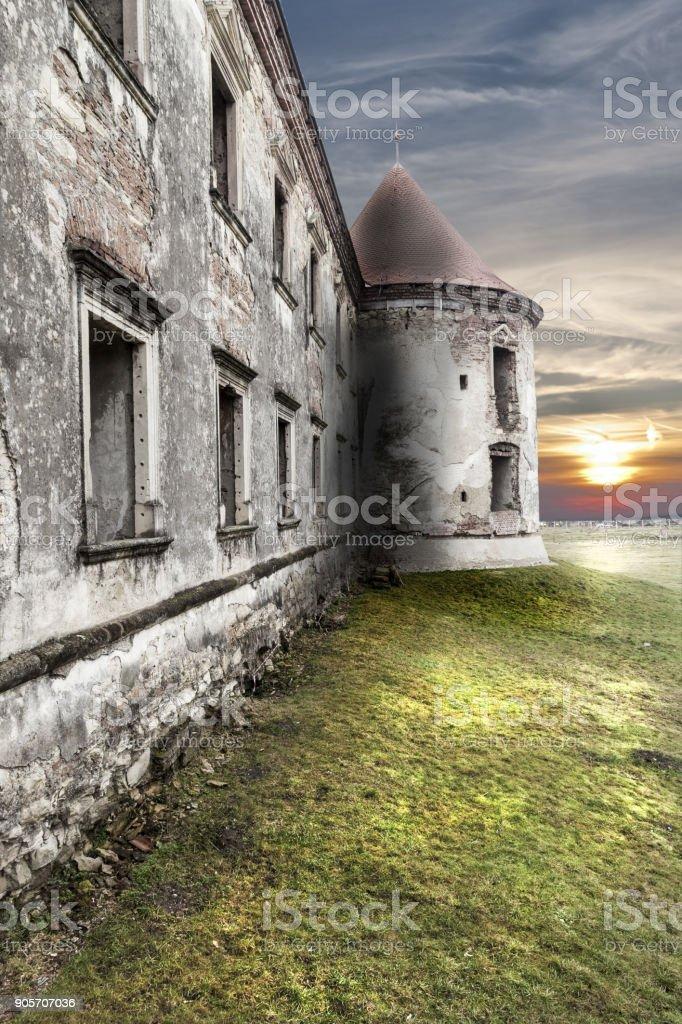 Abandoned  ruins of a castle in transylvania, Boncida, Romania. stock photo