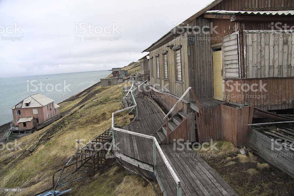 Abandoned Russian wooden houses in Barentsburg, Svalbard royalty-free stock photo