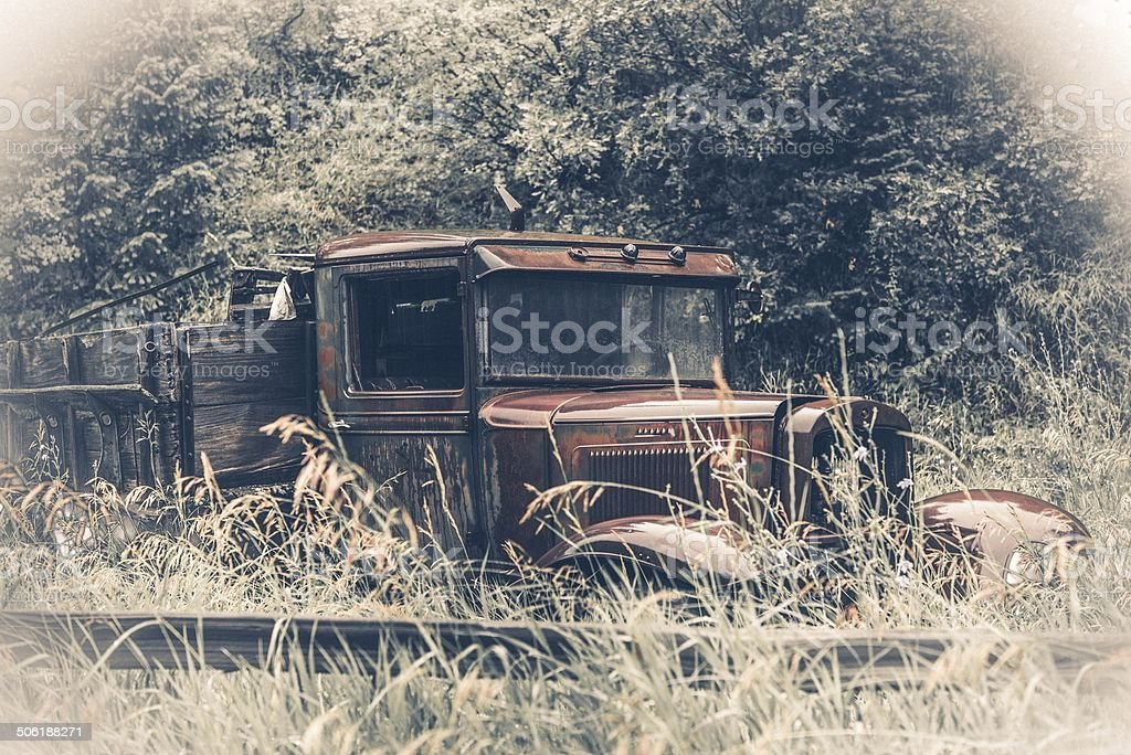 Abandoned Rusty Oldtimer stock photo