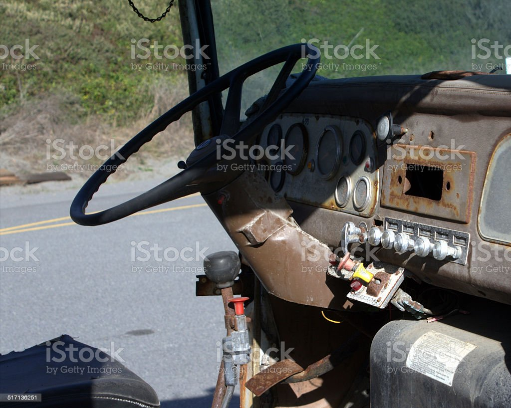 Abandoned Rusty Truck, Dashboard and Steering Wheel stock photo