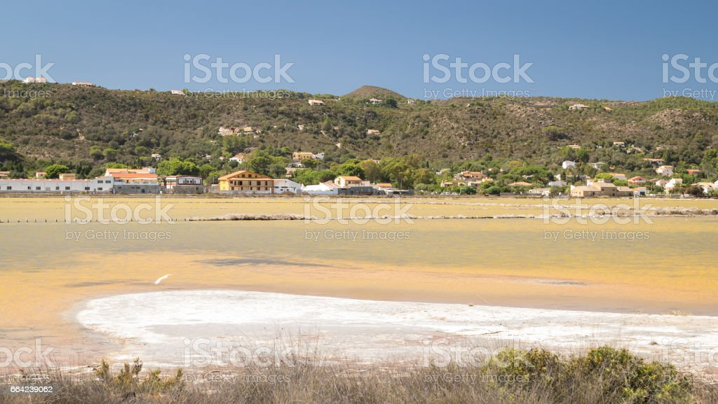 Abandoned salt pans in Carloforte, San Pietro Island, Sardinia. stock photo