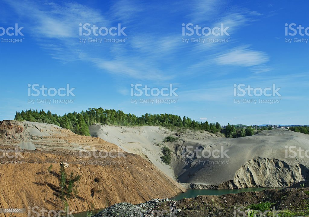 Abandoned sand quarry stock photo