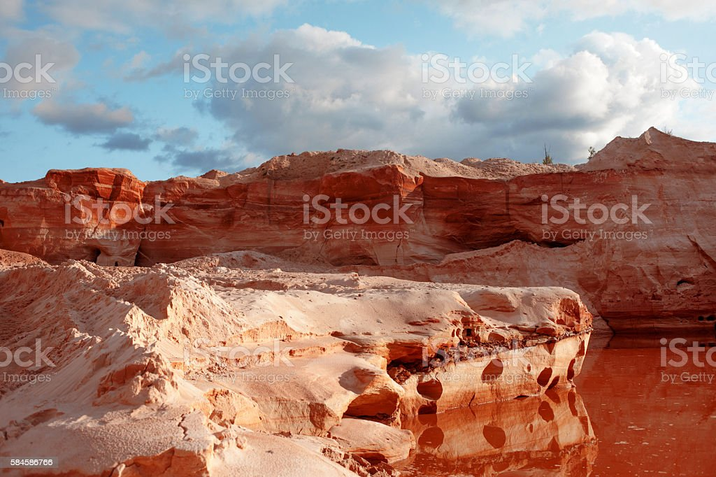Abandoned sand quarry with pond, long-term deposition stock photo