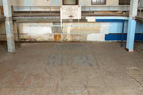 Abandoned  school gym stock photo