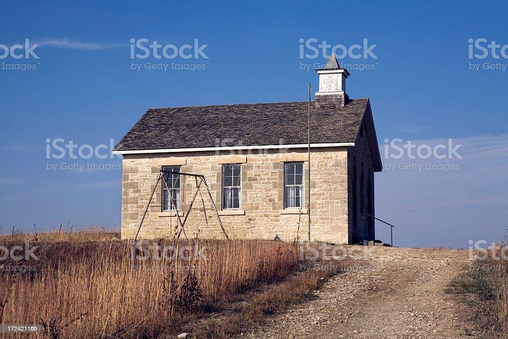 Abandoned School House Kansas Prairie royalty-free stock photo