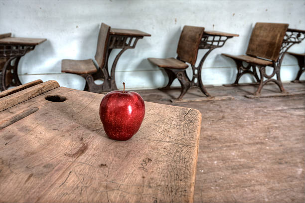 Abandoned School House red apple stock photo