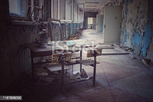 istock Abandoned school in Pripyat, Chernobyl exclusion zone, Ukraine 1187838200