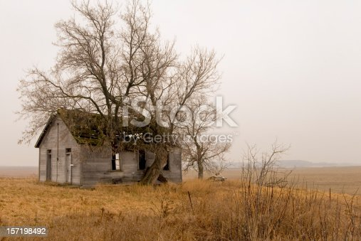 Old, abandoned schoolhouse, with tree growing into the roof. The mood is somber with fog surrounding the structure.
