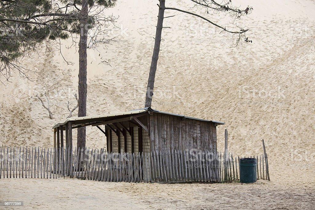 Abandoned shack, Dune of Pilat, Atlantic Coast, France royalty-free stock photo