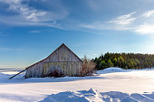 Weathered shed or barn in a snowy field in winter.  Concepts could include nature, seasons, agriculture, others.  Copy space in sky if needed.