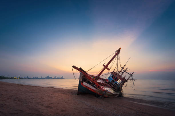 abandoned shipwreck of wood fishing boat on beach at twilight time - shipwreck stock pictures, royalty-free photos & images