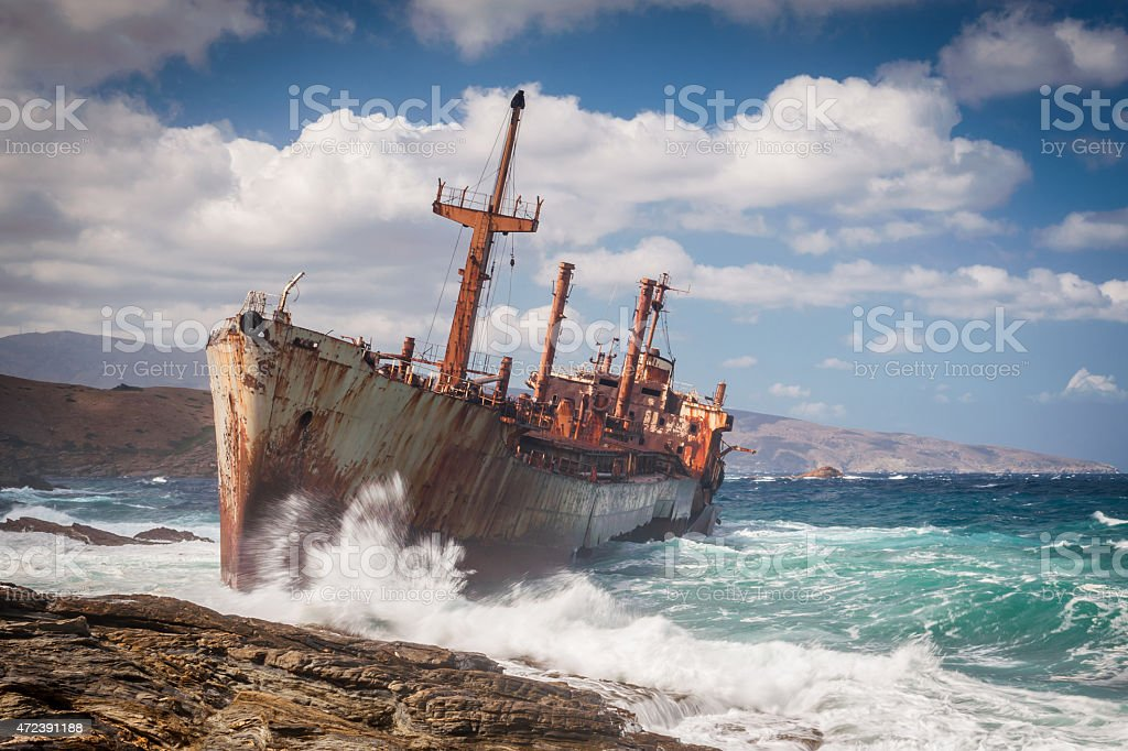 Abandoned shipwreck on Andros, Greece stock photo