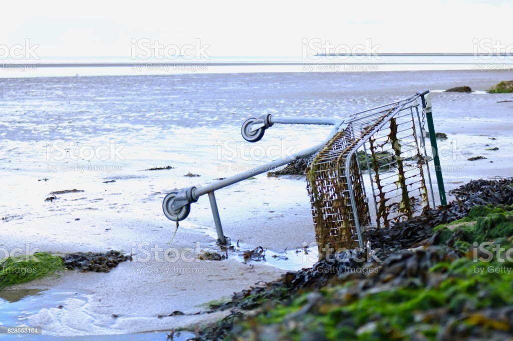 Abandoned Shopping Cart on Beach stock photo