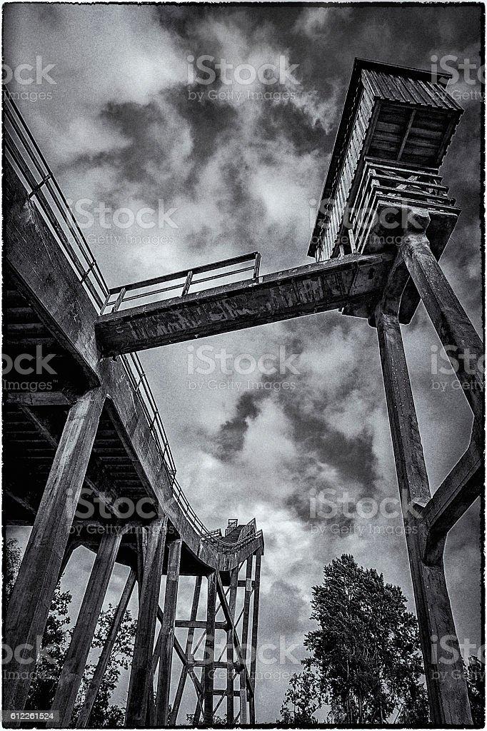 Abandoned ski jump, architectural details stock photo