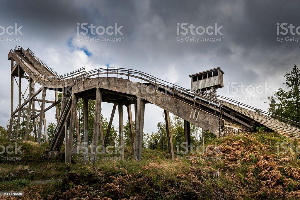 Abandoned ski jump stock photo