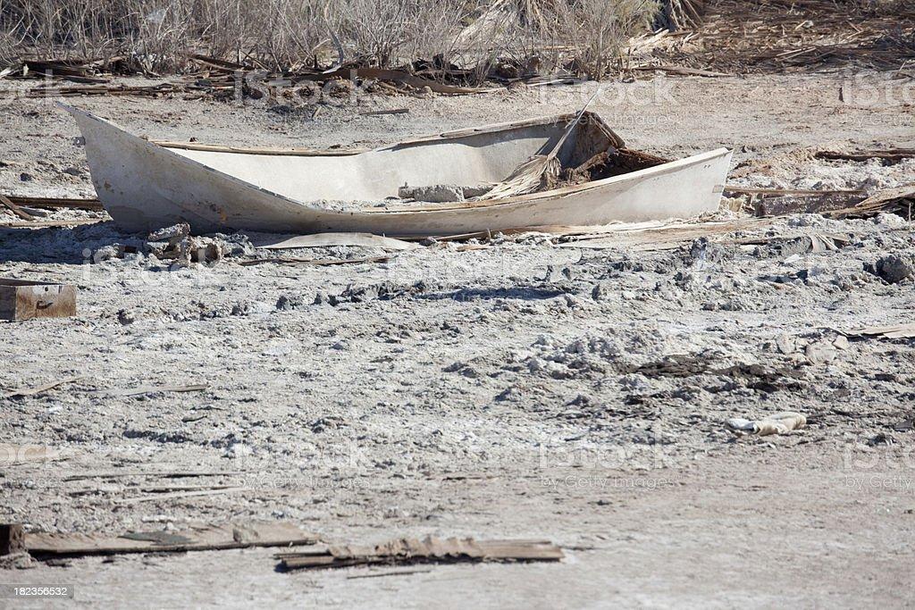 Abandoned Skiff Marooned on Salt Flats, Salton Sea, California royalty-free stock photo