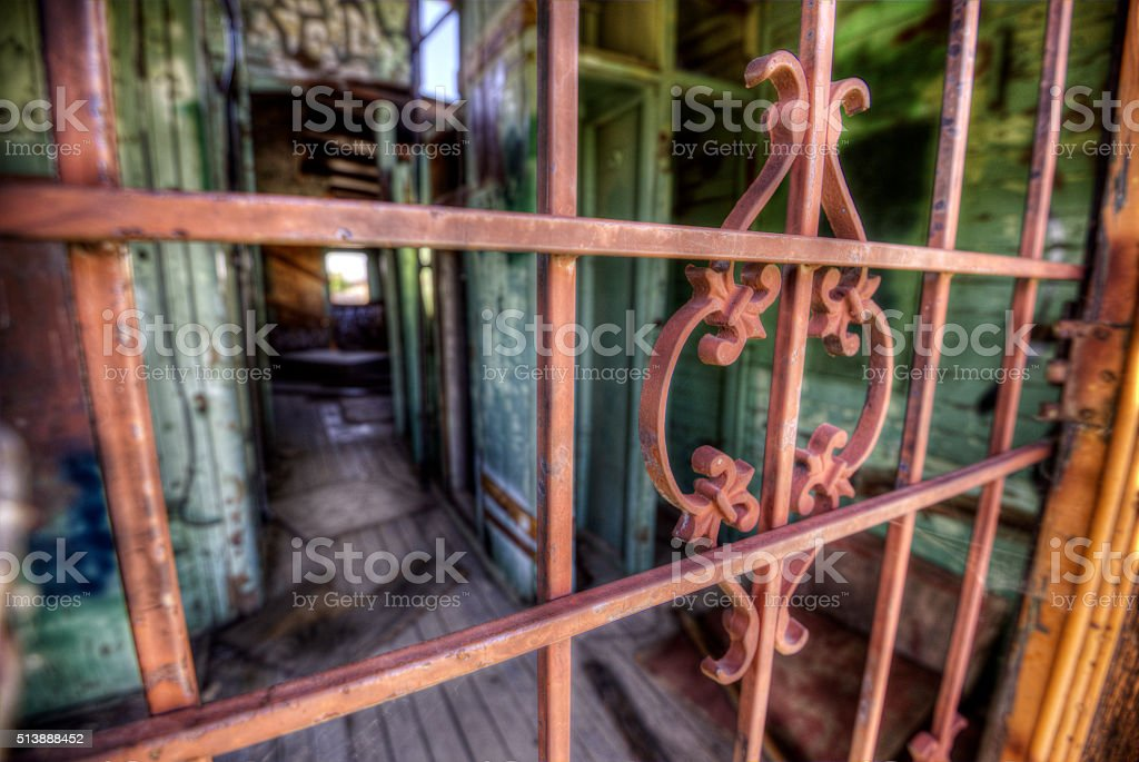 Abandoned Southern Pacific Railcar Security Gate - HDRI stock photo
