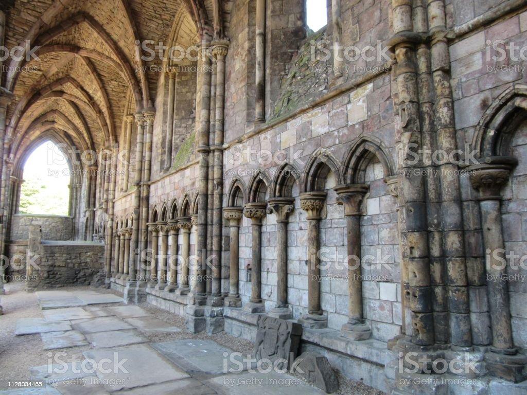 Abandoned stone abbey stock photo