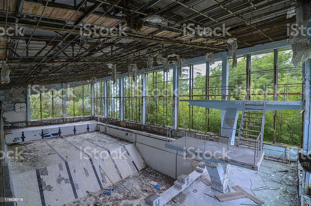 Abandoned swimming pool Pripyat, Chernobyl stock photo