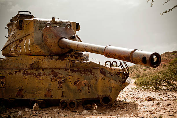 abandoned tank in africa (somalia) - horn of africa stock photos and pictures