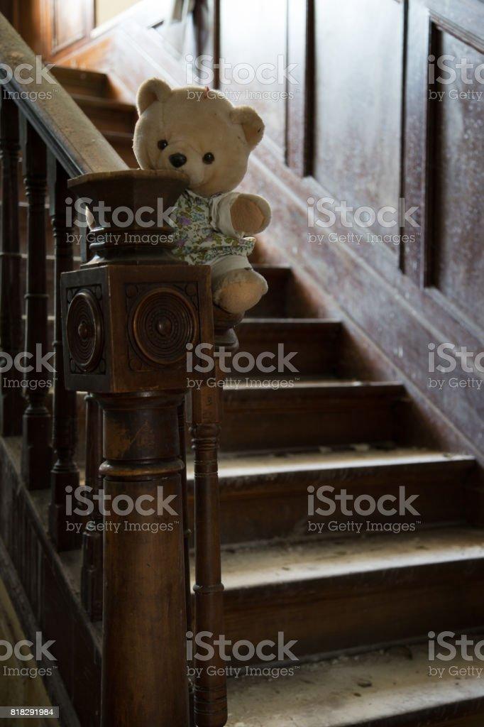 Abandoned teddy bear stock photo