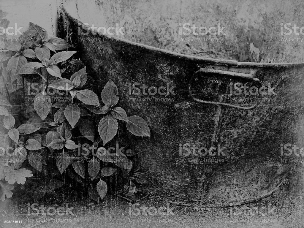 abandoned tin bath stock photo